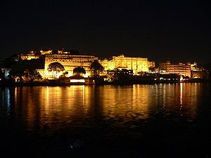 Udaipur Palace complex at Night. Udaipur, India