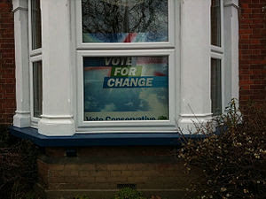 An election sign in a residential property.