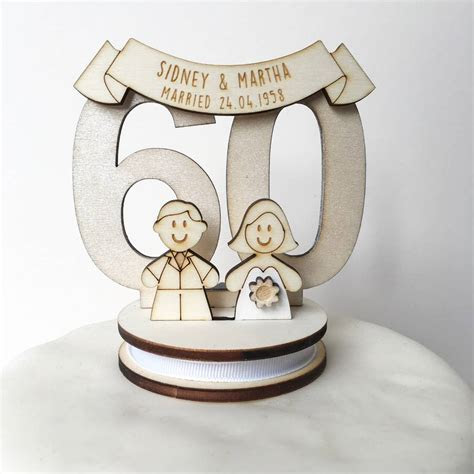 personalised 60th wedding anniversary cake topper by just