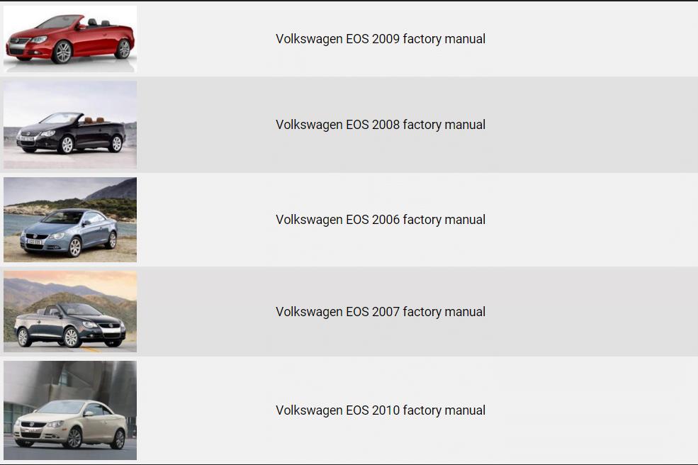 Volkswagen Eos 2006 2010 Repair Manual Factory Manual