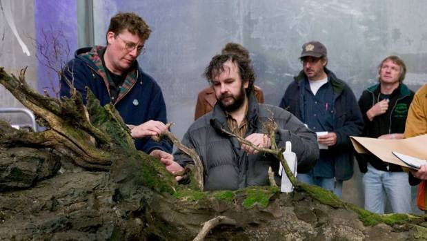 The Movie Museum founders Sir Peter Jackson and Sir Richard Taylor with miniatures being prepared for King Kong,  which will be among thousands of  Hollywood memorabilia housed in their new Wellington museum.