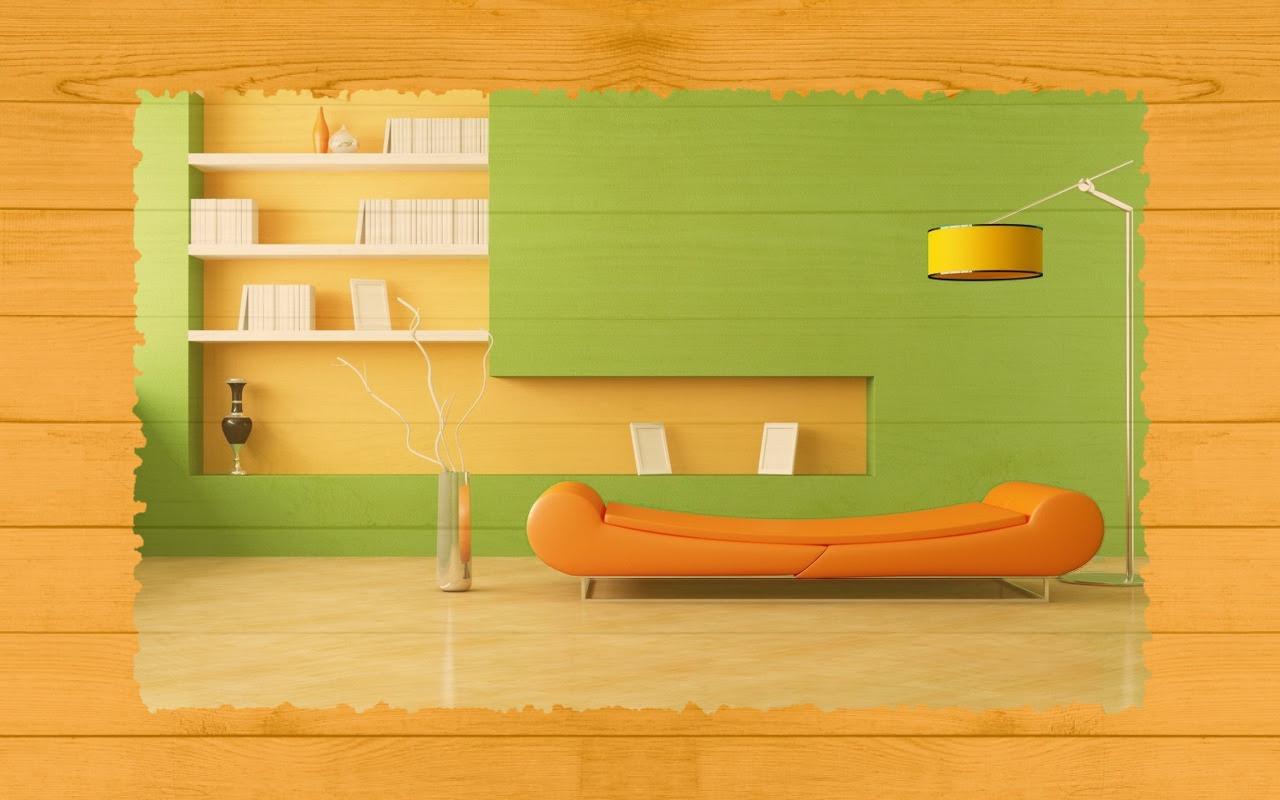 Fond d'ecran  design d'intérieur de salon vert et jaune avec texture en bois.