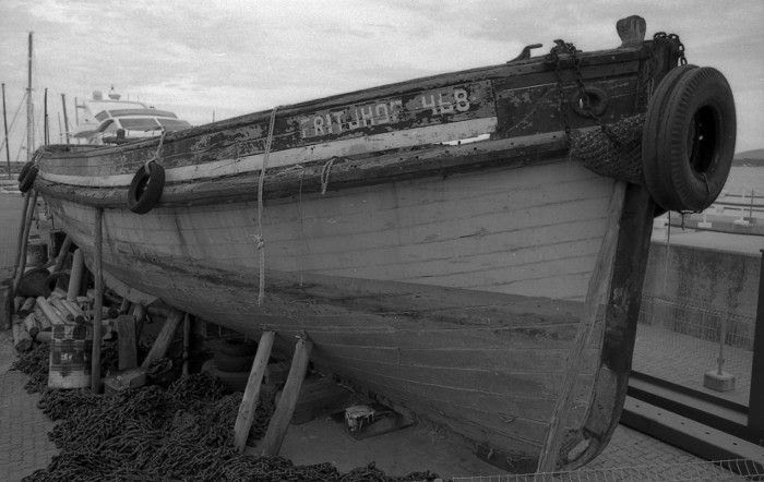 old boat on repairs