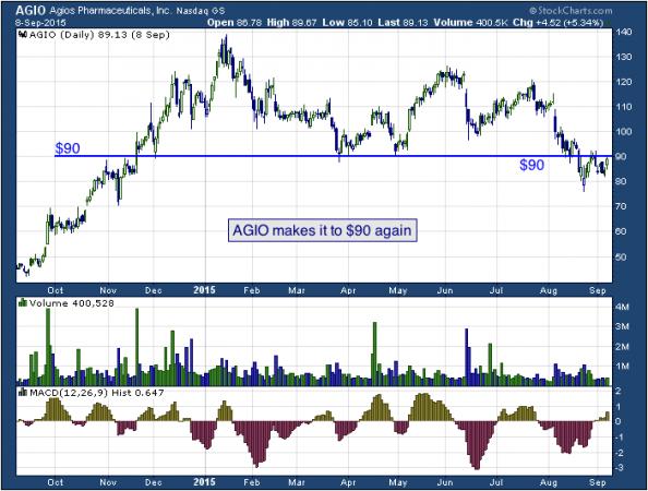 1-year chart of Agios (NASDAQ: AGIO)