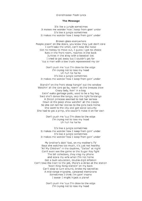 The Message Grandmaster Flash Lyrics
