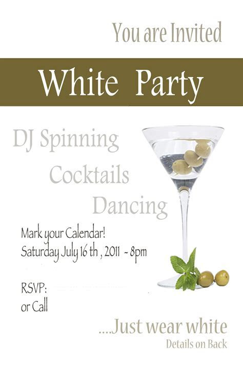 White Party invite   great night!   Invitations   All