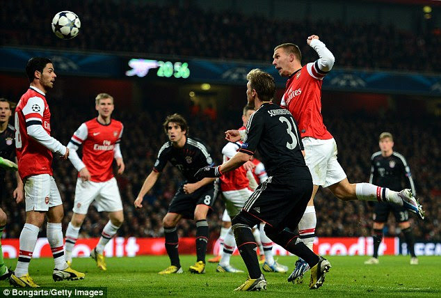 Poacher: Podolski capitalised on Manuel Neuer's mistake to head into an unguarded net against his old club