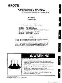 Grove RT540E Specifications CraneMarket