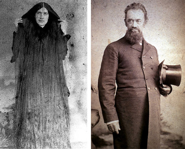 Left: Mary, the youngest, was the least musically talented and emotionally stable of her sisters. (Via Peachridge Glass) Right: The Rev. Fletcher Sutherland developed the hair tonic that made his famous daughters rich. (Via The Erie Canal Discovery Center)