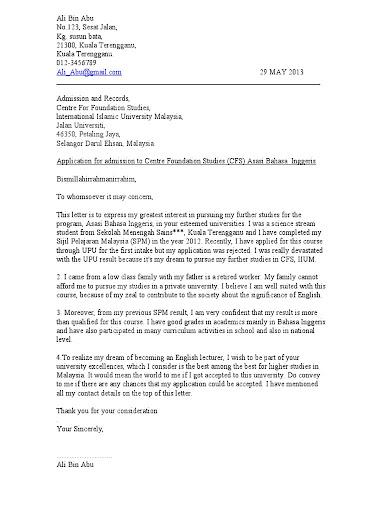 Surat Rasmi Permohonan Lesen Perniagaan Surat Rasmi Q