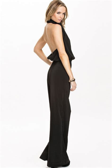 black halter open  high waist dressy jumpsuit