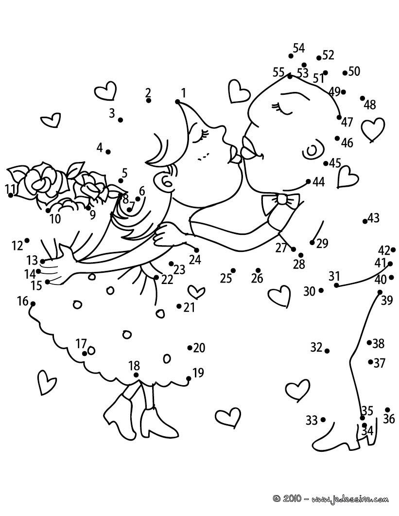 Coloriages Les Amoureux Points à Relier Difficile Frhellokidscom