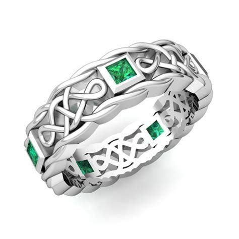 Princess Cut Emerald Ring in Platinum Celtic Knot Wedding Band