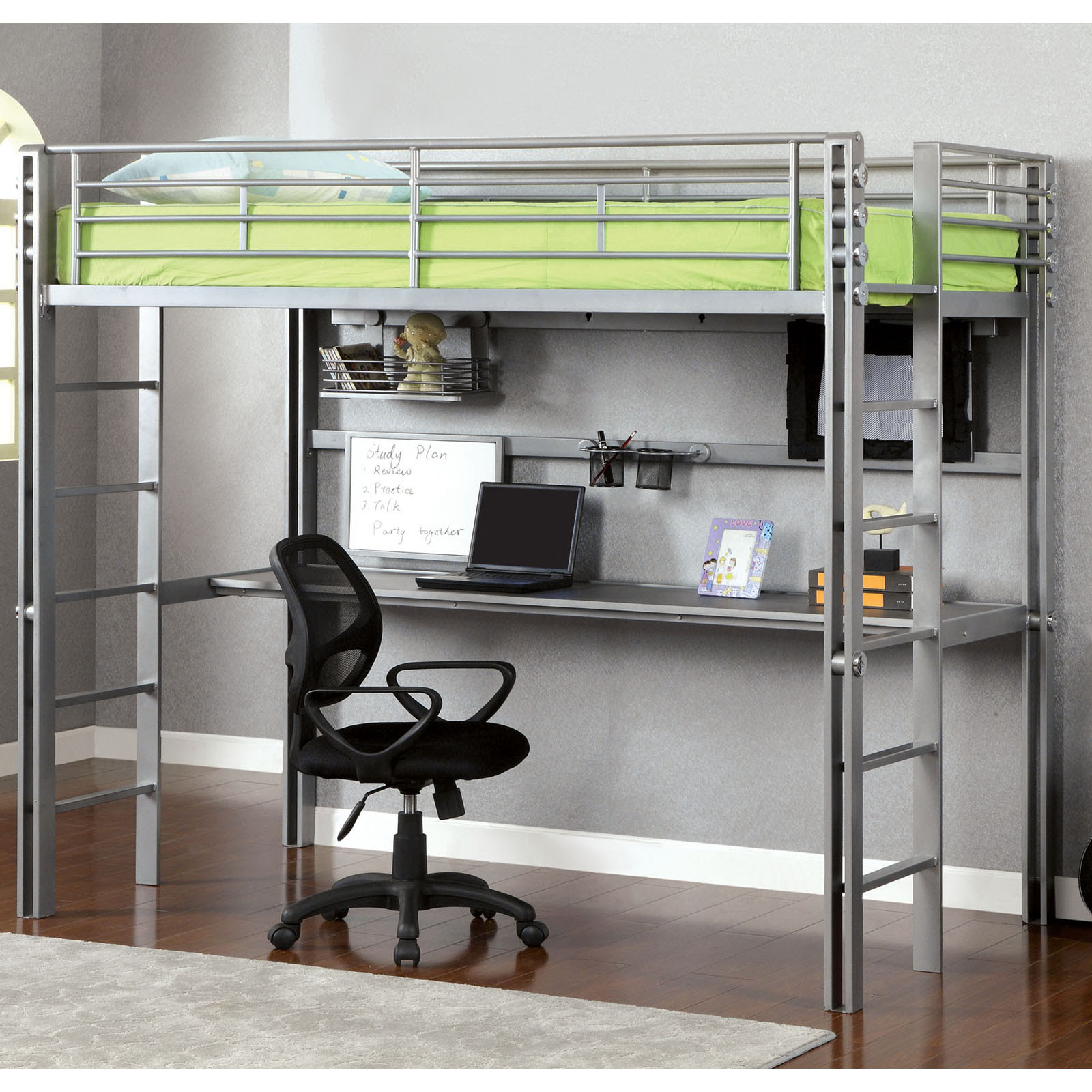 Aldie Twin Loft Bed with Workstation  Silver\/Black at Hayneedle