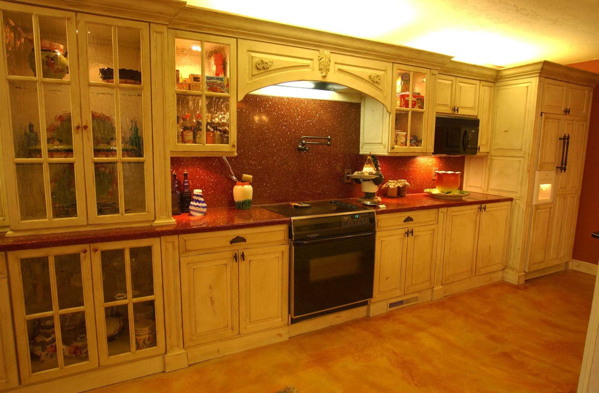 Oklahoma City Cabinetmaker Painted Kitchen Cabinet Distressed Cabine