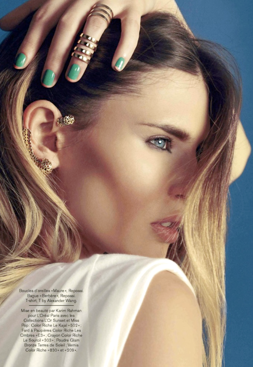 LE FASHION BLOG EDITORIAL BEAUTY BIANCA BALTI GLAMOUR FRANCE GOLD REPOSSI RINGS KNUCKLE RING TWO TONE FRENC MANICURE GREEN PINK GOLD EAR CUFF OMBRE HAIR MUSCLE WHITE TEE TSHIRT Magazine: Glamour France May 2013 Title: Revisez Vos Codes Model: Bianca Balti Photographer: Nico Stylist: Virginie Benarroch Hair: David Delicourt Make-up: Karim Rahman Nails: Maria Rosaria