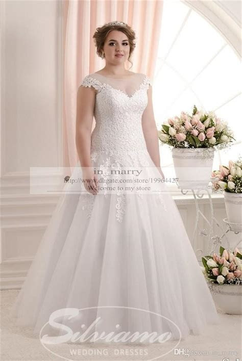 Eleagnt Plus Size Vinatge Lace Wedding Dresses 2016 A Line
