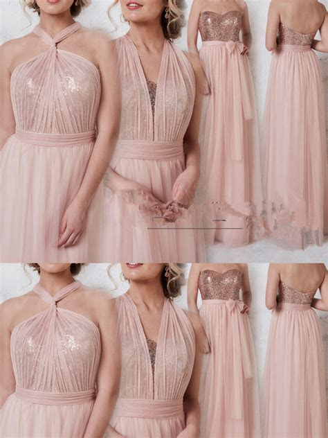 Rose Gold Convertible Bridesmaid Dress, Multiway