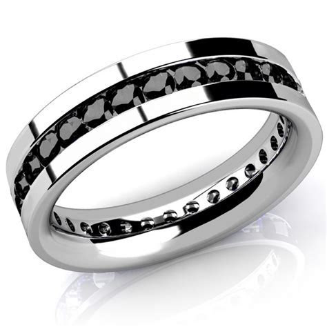 Men's Black Diamond Eternity Wedding Band Channel Ring