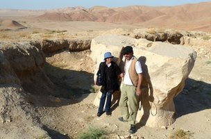 Lynne O'Donnell and a French archaeologist The anvil-shaped Zoroastrian altar of Cheshma-e-Shifa, Balkh, Afghanistan.