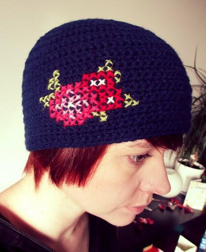 Crochet cross stitch hat