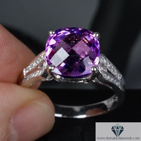 Modified Cushion Cut Amethyst Unique Curved Band Diamond