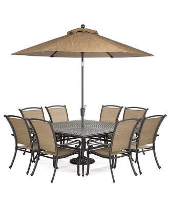 """Paradise Outdoor 9 Piece Set: 64"""" Square Dining Table and 8 Dining Ch…"""