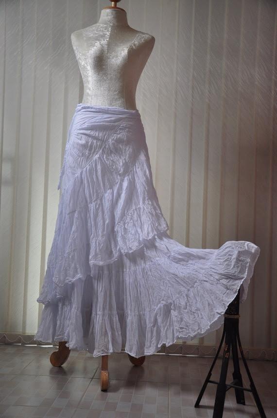 Boho Long Skirt cotton - White