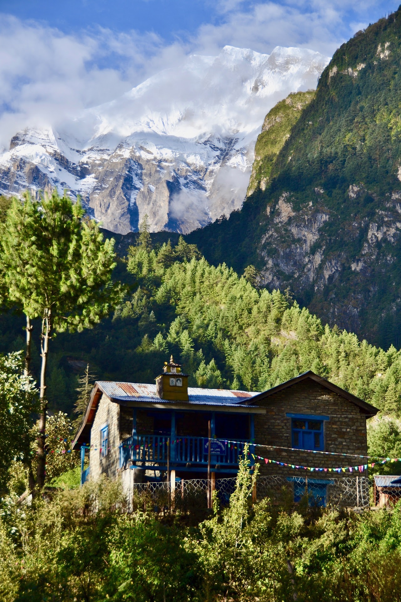 Located just outside of the small mountain town of Chame in Nepal This cabin has access to hot springs and the Trishuli river along with stunning views of Annapurna range behind it. Simple living is found in this predominately stone and lumber...