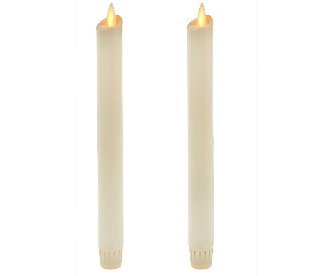 "Set of 2 Luminara 8"" Wax-Dipped Taper Flameless Candles ..."