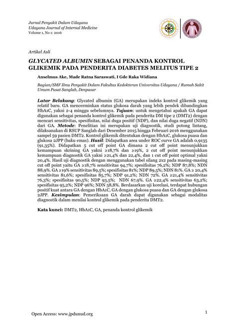 glycated albumin sebagai penanda kontrol glikemik pada
