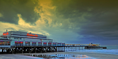 Sandown Pier after sunset