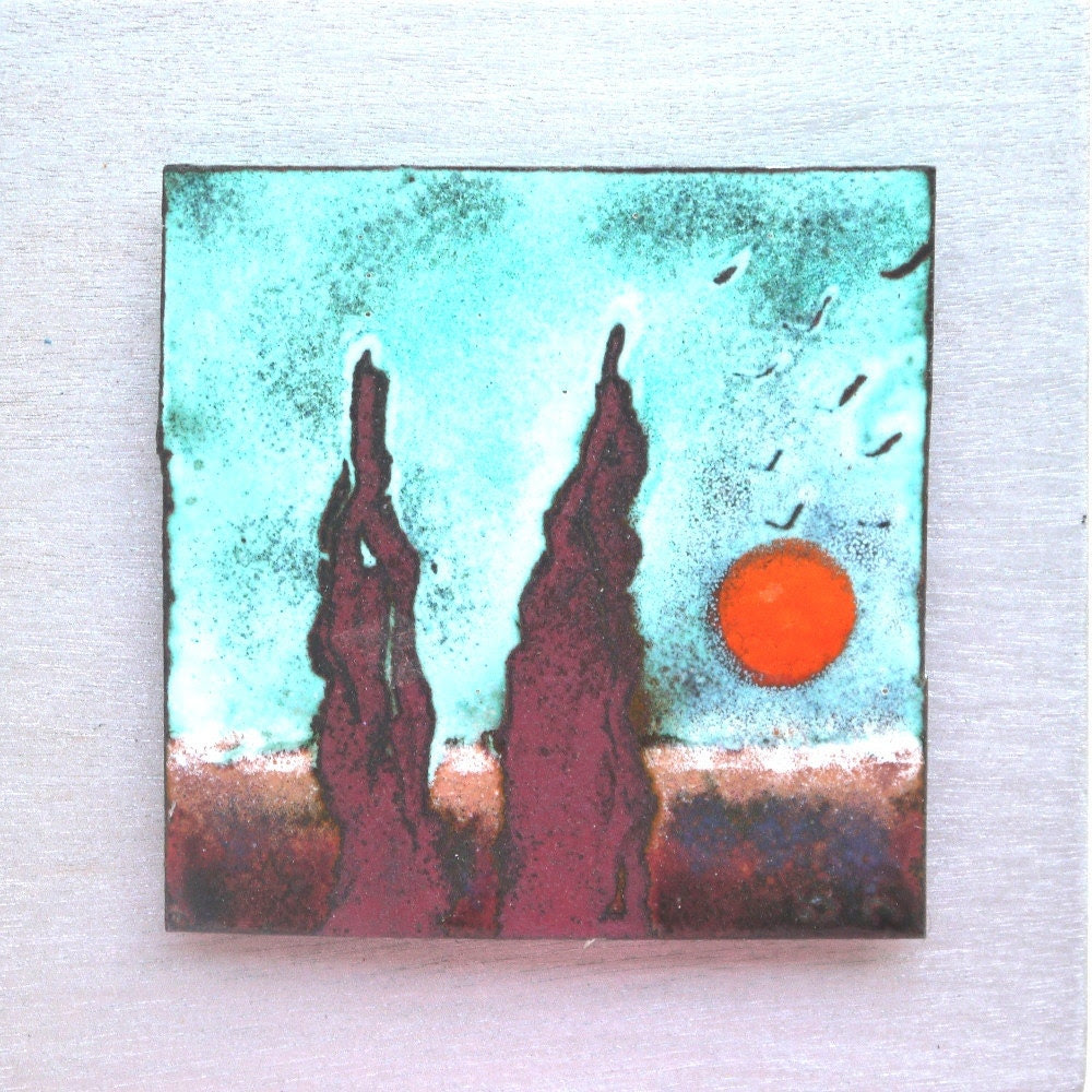 The Cypress Unique wall hanging Enamel home decor by GalisShop