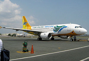 English: A Cebu Pacific airplane on the ramp o...
