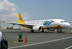 English: A Cebu Pacific airplane on the ramp o...
