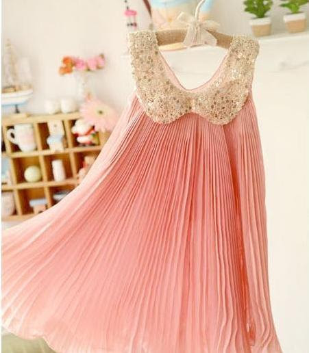 Gold Sequin Collar and Pleated Chiffon Girls Dress 3T to Size 7