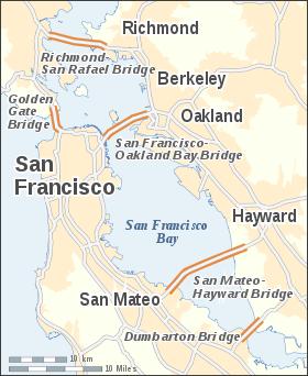 Localización del puente en San Francisco