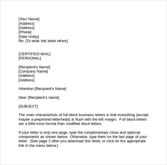 Formal Business Letter Format  Official Letter sample template  Printable Calendar Templates