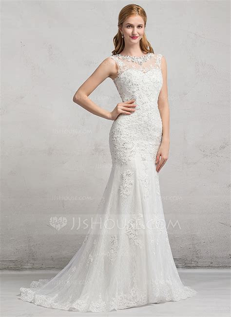 Trumpet/Mermaid Illusion Sweep Train Tulle Lace Wedding