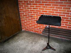 UF Music Building Music Stand Bench Door Brick