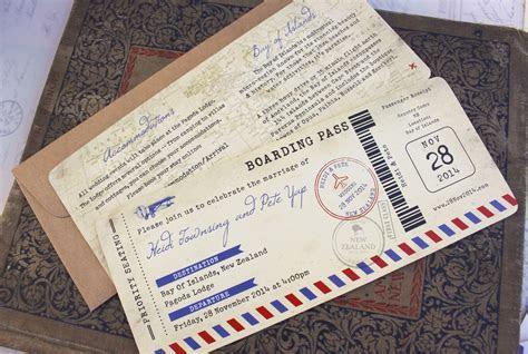 Vintage Air Mail Boarding Pass Wedding Invitation (New