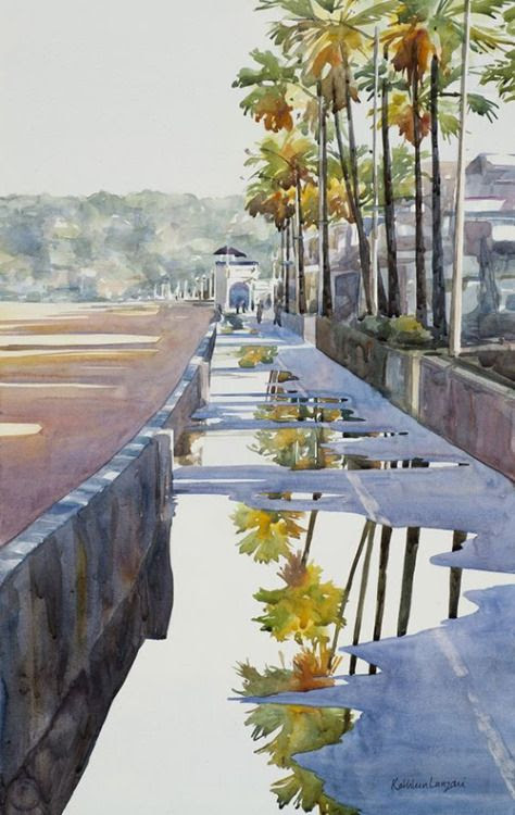 After The Rain By Kathleen Lanzoni, Watercolor