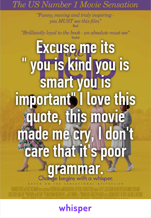 Excuse Me Its You Is Kind You Is Smart You Is Important I Love