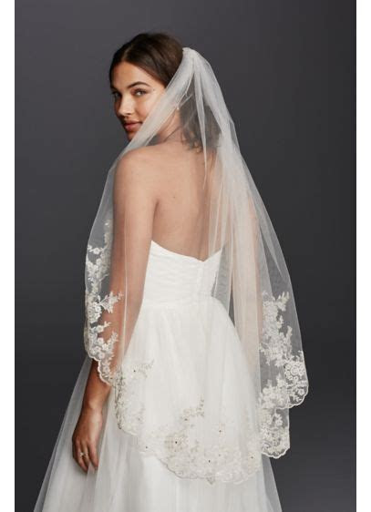 Mid Veil with Scalloped Edges and Lace   David's Bridal