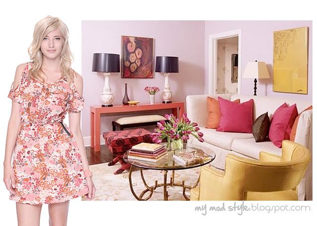 dress and room floral pink orange