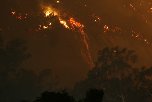 Fire Pouring Down Hillside