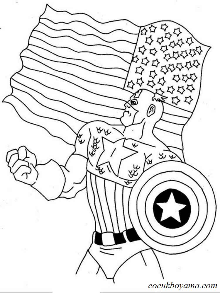 Kaptan Amerika ücretsiz Boyama Resimleri