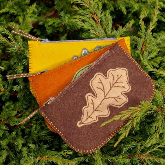 Woodland: Handmade Wool Felt Coin Purse in Copper Brown