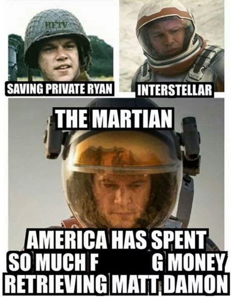 From SAVING PRIVATE RYAN and INTERSTELLAR to THE MARTIAN, Matt Damon gets stranded more than Gilligan does in GILLIGAN'S ISLAND.