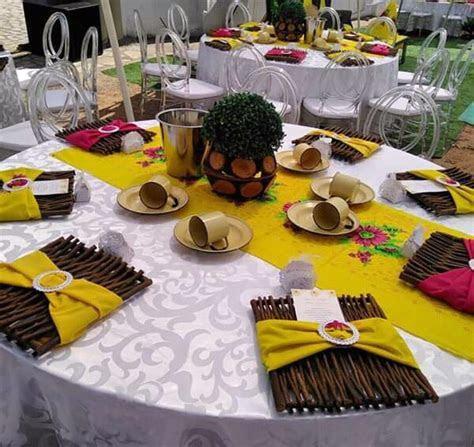 Yellow and Pink Tsonga Traditional Wedding Decor